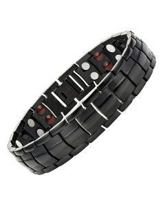 4in1 Magnets Negative Ions Germanium Far Infrared Titanium Bracelet Black