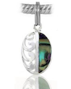 925 Sterling Silver Paua Drop Charm