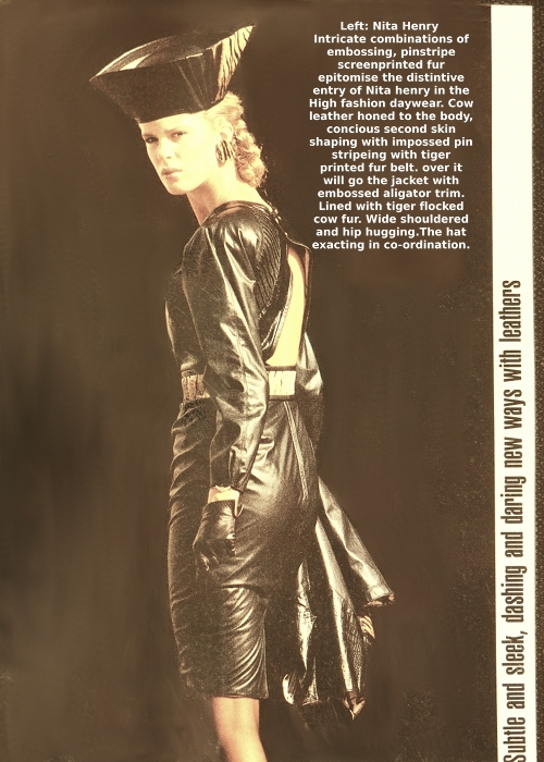 Rachel Hunter models Nita Henry leatherwear