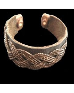 BCN1012 Copper Magnetic Weave Band (30mm twisted weave/leather)