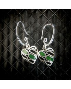 E07 Sterling Silver NZ Jade Heart Earings