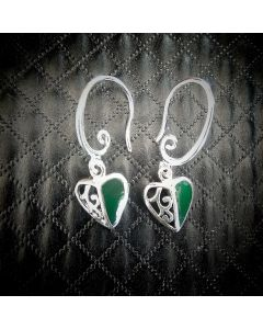 E06 Sterling Silver NZ Jade Koru Heart Earings