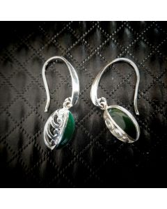 E08 Sterling Silver NZ Jade Koru Oval Earings