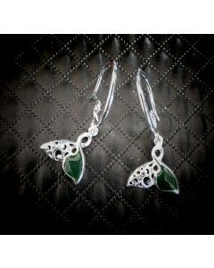 E09 Sterling Silver NZ Jade Whale Tail Earings